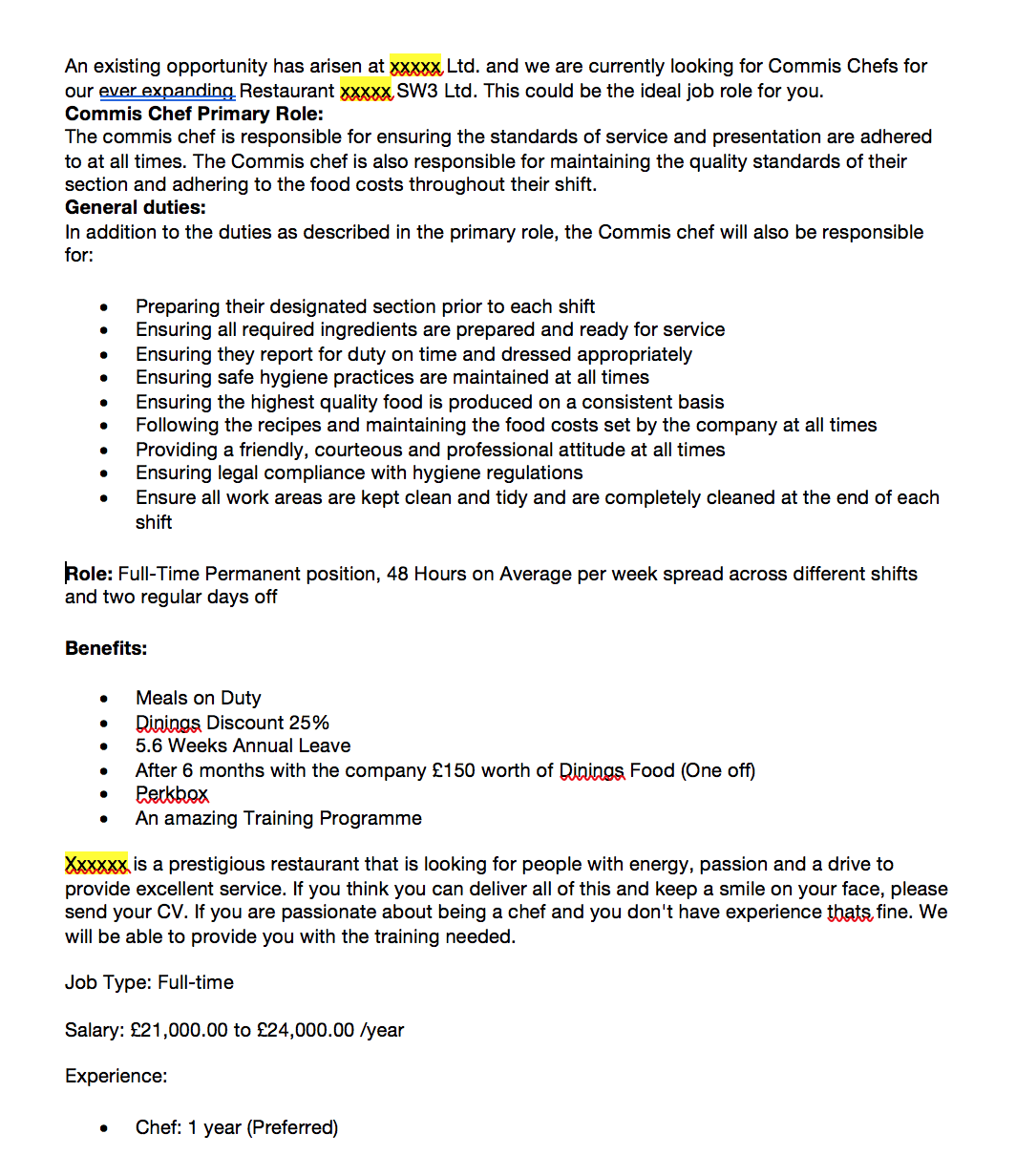 Chef Job In London Advert